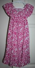 Girl's Handmade Hot Pink Floral Print Dress Toddler Size Approx 2-3