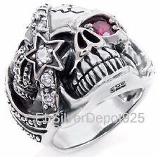 925 STERLING SILVER AAA+ Red CZ Ring Women Crown Pirate One Eye Skull Biker Punk