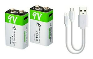 2 x 9V 650mAh USB Type-C Rechargeable Lithium-Ion Li-Ion Battery PP3 + Cable inc