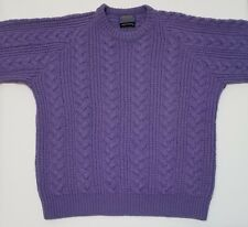Pendleton Womens 100% Virgin Wool Cable Knit Sweater Purple Large L USA