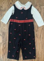Gymboree Holiday Pictures Baby Girl Black Cord Overalls Shirt Red Bows Sz 12-18m