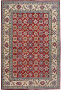 Geometric Super Kazak Wool Hand-Made Oriental Area Rug Vegetable Dye Carpet 9x12