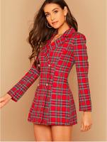 Red Notch Collar Double Breasted Tartan Cocktail Blazer Dress Sz XS S M L XL