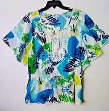 FASHION BUG TOP BLOUSE PARADISE WHITE MULTI-COLOR SIZE MEDIUM NWT 100% COTTON LS