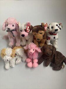 TY Beanie Babies Bundle Rare Retired Dog Courage Cupid Rescue Fetcher Brigitte
