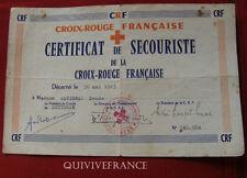 CERTIFICAT DE SECOURISTE DE LA CROIX ROUGE FRANCAISE