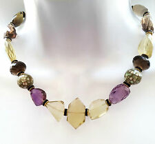 HIGH QUALITY FACETED CITRINE AMETHYST SMOKY QUARTZ INLAY STATEMENT NECKLACE