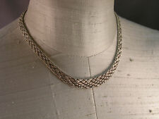 Italian .925 Sterling Silver Textured Chevron Link Necklace from Estate 35.1 g