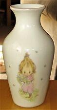 """VTG Hallmark Porcelain Vase Betsey Clark Girl Flowers Butterflies 6"""" Tall 1976"""