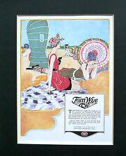 "NEW American mounted ladies swimwear, swimsuit advert Tom Wye 1919: 10"" x 8"""