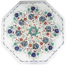"""15"""" White Marble Bedroom Center Table Top Marquetry Multi Inlay Home Decor H1376"""