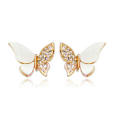 GORGEOUS 18K ROSE GOLD PLATED  GENUINE AUSTRIAN CRYSTAL BUTTERFLY  EARRINGS