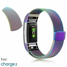 Rainbow Steel Replacement Spare Band Strap for Fitbit Charge 2