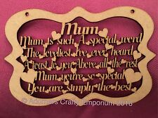 Mum Is Such A Special Word Verse Poem Sign Plaque Mdf Craft Wood o/f 30 X 20cm