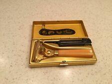Vintage Imperial Schick Injector Razor Men's W/ Gold Tone Metal Case Used