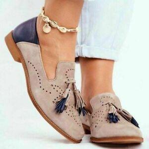 Women Loafers Flat Slip On Tassel Ladies Casual School Work Pumps Shoes BigSize