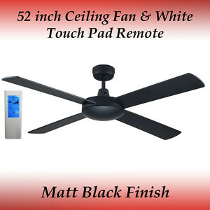 Fias Genesis 52 inch (1300mm) Matt Black Ceiling Fan and White Touch Pad Remote
