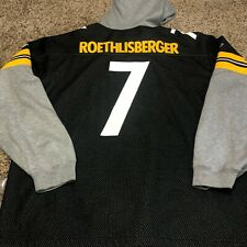 Ben Roethlisberger Reebok Pittsburgh Steelers Jersey Sweatshirt Hoodie Adult XL