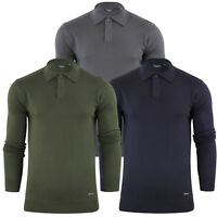 Mens Polo Shirt Stallion Knitted Collared Casual Jumper Top Pullover Sweater New