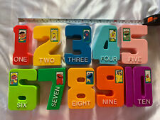 Vintage Illco Jim Henson Sesame Street Numbers 1-10 Colorful Blocks Plastic