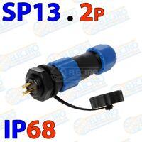 Conector aviacion tipo SP13 2 pines IP68 waterproof sumergible 2p soldar 13mm