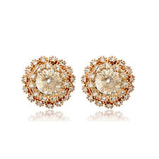 LOVELY 18K ROSE GOLD PLATED GENUINE CLEAR AUSTRIAN CRYSTAL ROUND STUD EARRINGS