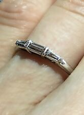 1950s Vintage Art Deco Style 14k White Gold Carved Baguette .20ctw Diamond Ring