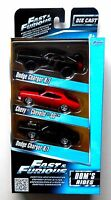 1:55 DOM'S RIDES DODGE CHARGER CHEVELLE JADA FAST FURIOUS DIECAST CAR 3 PACK