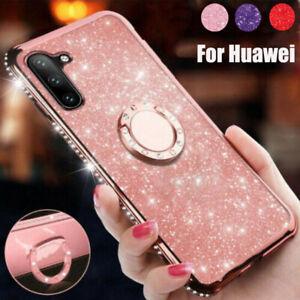 For Huawei Nova 5i P30 P20 Pro Lite Glitter Rubber Case Ring Holder Stand Cover