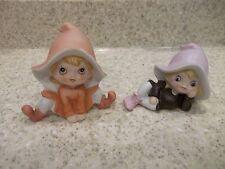 2 Homco Pixie Eilves Gnomes Fairy Girls 5213 Orange Purple Hats Figurines