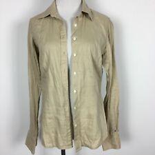 Tommy Hilfiger Size 8 Blouse Shirt Button Up Khaki Beige Long Sleeve Pure Linen