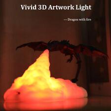 Rechargeable 3D Print Dragon Shape Night Light LED Table Desk Lamp Room Decor