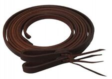 "Showman Soft Oiled Harness Leather Split Reins 8' Feet Long x 1/2"" wide Made USA"
