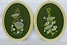 Floral Cross Stitch Vintage 60s Mod Needlepoint Embroidery Framed Picture