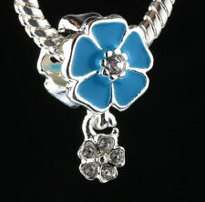 925 Silver Charm Beads Flowers Pendant Fit sterling Bracelet Necklace Chain #D64