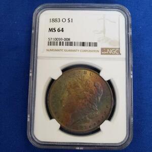 1883 O US 90% Silver Morgan $1 NGC MS64 attractive toning L10470