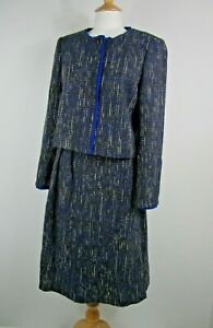 The Fold Blue Tweed Wool Blend Skirt Suit UK Size 10
