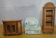 Vintage Fomerz Japan Dollhouse Wood Cabinet with Real Glass and Pantry Server