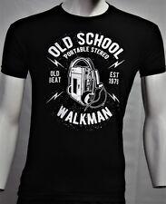Herren-T-Shirt-mit-Old School-Print-neue-Farben schwarz /weis
