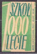 POLAND 1960 Matchbox Label - Cat.Z#136b-r. 1000 Schools, for 1000 years (Polish)