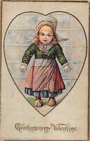 VALENTINE'S DAY Love Holiday Postcard 1909 Waterbury Conn ROBBINS Signed 389