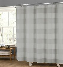 Gray Fabric Shower Curtain Wide Stripe Design