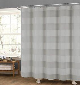 "Gray Fabric Shower Curtain: Wide Stripe Design, 70"" x 72"""