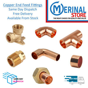 Copper Pipe Fittings End Feed Connectors Solder Plumbing 10mm-15mm-22mm-28mm