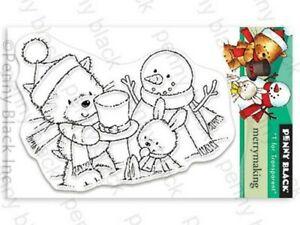 New Penny Black MERRY MAKING Mini Clear Stamp Christmas Santa Hat Snowman Cat