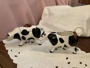 Friesian Cow Milk Creamer Jug And Sugar Pot Black White Cow Jug And Lidded Bowl
