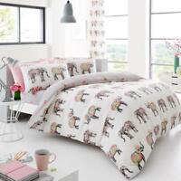 Decorated Multi Nellie Elephant Floral Duvet Quilt Cover Reversible Bedding Kids