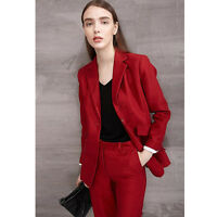 Dark Red Women Business Suits Female Office Suits Top And Pant Set Trouser Suit