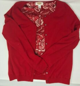 Talbots Silk Stretch Size 8/S Red Cream Floral Sleeveless Blouse with Sweater