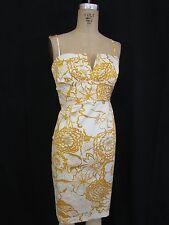 DONNA RICCO Golden/Yellow Spaghetti Strap Cocktail Cotton Sheath Dress-Size 8